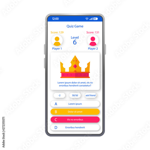 Online quiz game smartphone interface vector template - Buy this