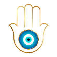 Ornate Hamsa, Gold Amulet Against The Evil Eye And Spoilage. Vector.