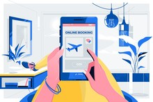 Online Booking Traveling Plane Flight Concept.Female Hands Holding Phone With App Booking Screen.Vector Illustration