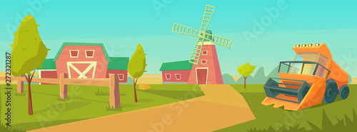 Foto auf Gartenposter Reef grun Agriculture. Farm rural landscape with combine harvester and red barn, and water tower .