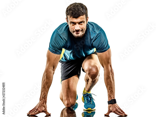 Cuadros en Lienzo one caucasian handsome mature man running runner jogging jogger isolated on whit