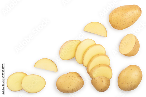 Young potato isolated on white background Billede på lærred