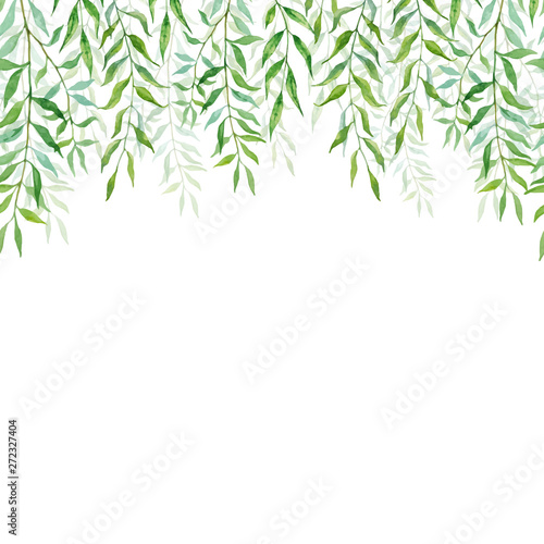 Photo Horizontal Seamless background with branches and leaves of willows