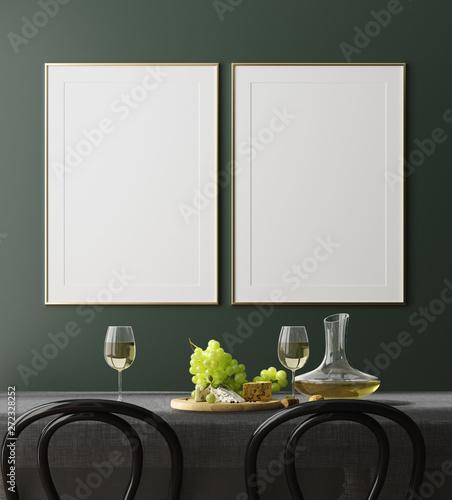 Pinturas sobre lienzo  Poster, wall mock up in dark green dining room interior, 3d render