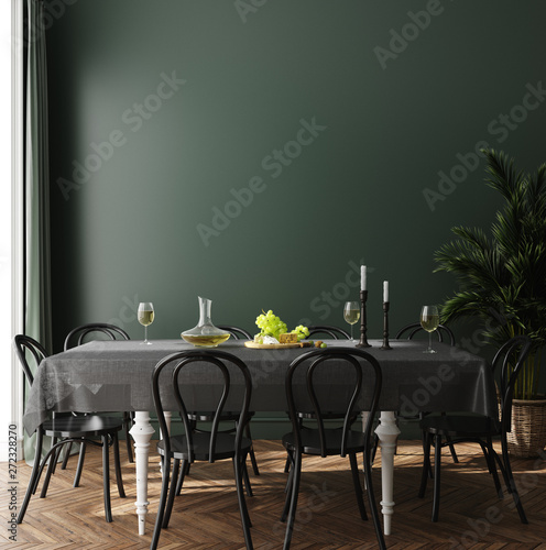 Pinturas sobre lienzo  Poster, wall mock up in dark green dining room interior, 3d render
