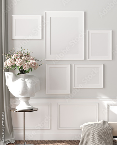 Modern interior, natural pastel colors room background with poster mock up, 3d render - 272328296