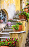 Fototapeta Na drzwi - Old narrow street in Plaka district, Athens, Greece. Plaka is a famous tourist attraction of Athens. Vintage steps with flowers. Beautiful stair of cozy alley on Acropolis slope in the Athens center.