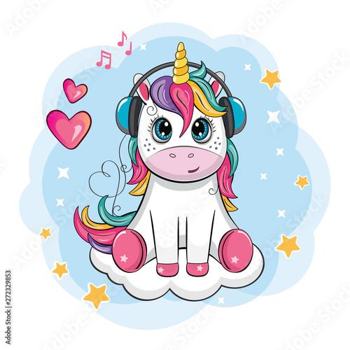 Fototapeta Cartoon funny unicorn with headphones on cloud