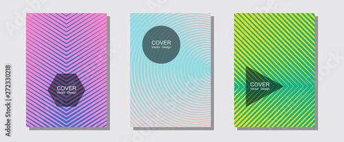 Fototapety, obrazy: Cool flyers set, vector halftone poster backgrounds.