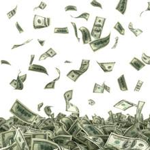 Dollars Bills Falling On Heap ...