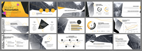 Fototapeta Presentation template, orange and black infographic elements. Vector slide template for business project presentations and marketing. obraz
