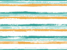 Stripes Watercolor Paintbrush Seamless Vector Pattern.