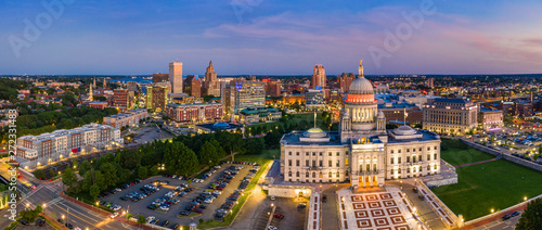 Aerial panorama of Providence skyline and Rhode Island capitol building at dusk. Providence is the capital city of the U.S. state of Rhode Island. Founded in 1636 is one of the oldest cities in USA. #272331483