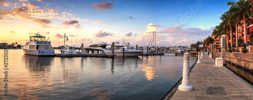 Canvas Prints Cappuccino Sunset over the boats in Esplanade Harbor Marina in Marco Island