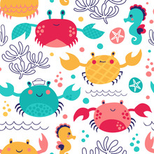Summer Marine Background With Sea Animals. Seamless Vector Pattern With Crab And Seahorse.