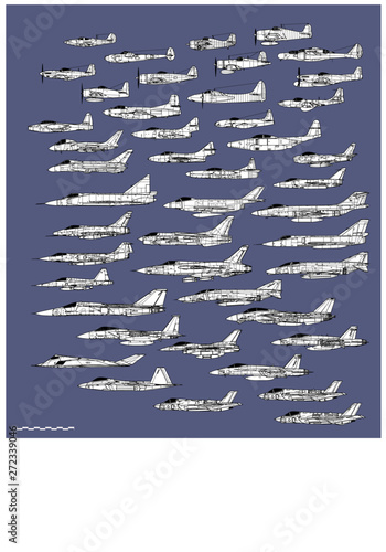 Fotografie, Obraz History of american fighters. Outline vector drawing