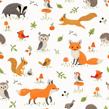 Seamless Pattern Of Cute Forest Animals, Mushrooms, Berries And Leaves For Children's Design.