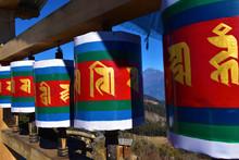 Old Wooden Tibetan Prayer Wheel At Chele La Pass , Bhutan.