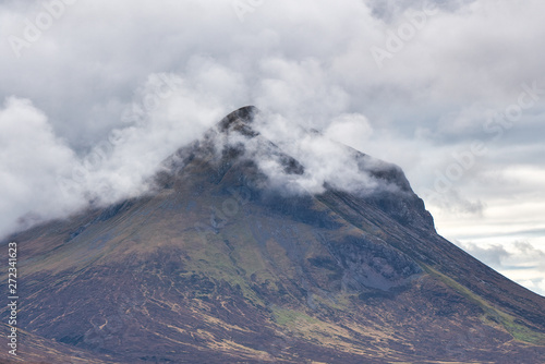 cloud shrouded mountain