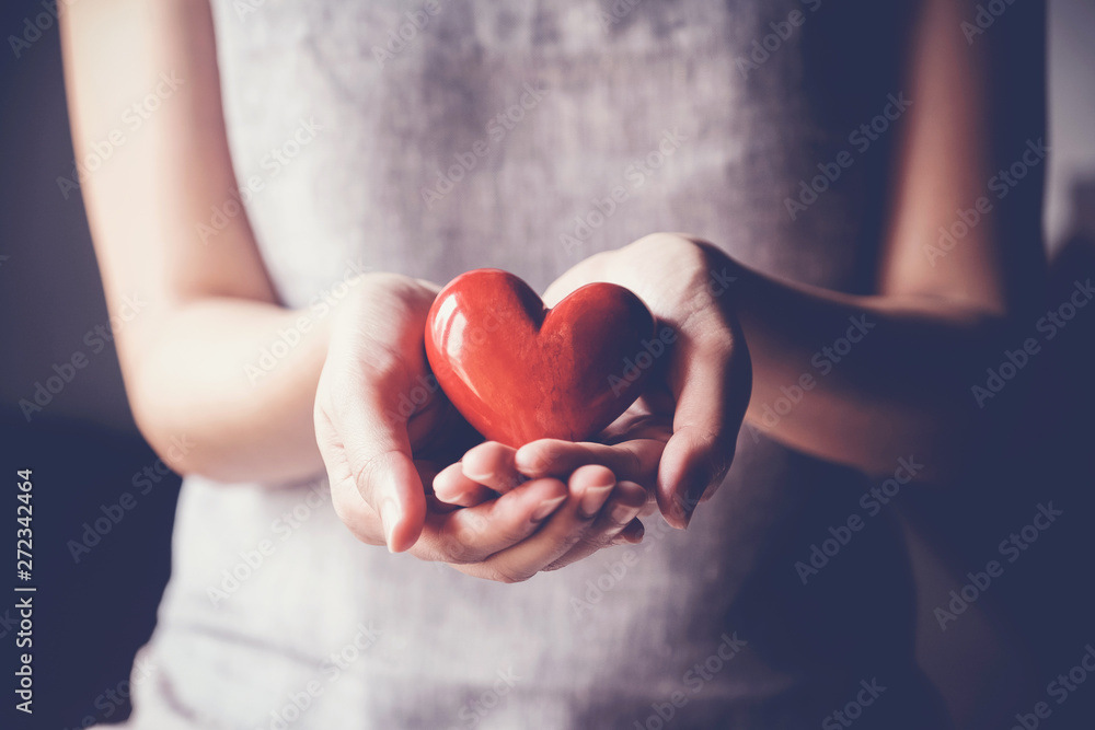 Fototapeta woman holding red heart, health insurance, donation charity concept, world health day, world mental health day, world heart day, foster care, gratitude, kind, thankful, hope concept