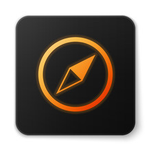 Orange Glowing Wind Rose Icon Isolated On White Background. Compass Icon For Travel. Navigation Design. Black Square Button. Vector Illustration