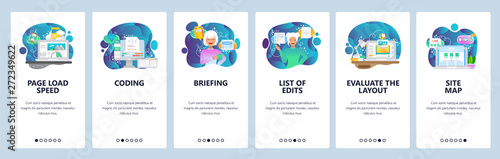 Mobile app onboarding screens. Web page loading, coding, sitemap, software development. Menu vector banner template for website and mobile development. Web site design flat illustration - 272349622