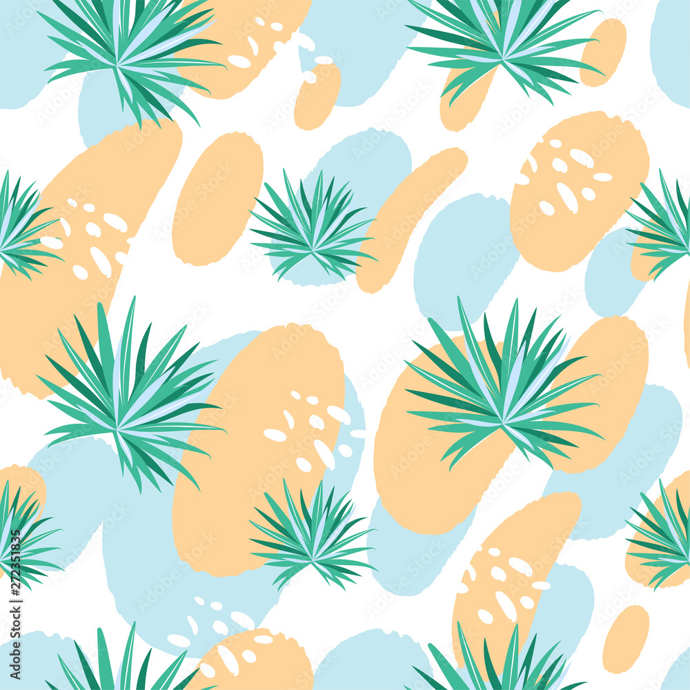 Modern seamless tropical summer pattern with palm leaves and abstract elements. Creative contemporary collage. Texture for textile, postcard, wrapping paper, packaging etc. Vector.