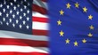 USA and European Union officials exchanging confidential envelope, against flags