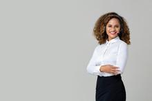 Smiling Arms Crossed African American Woman Wearing Microphone