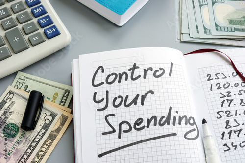 Valokuva  Control your spending concept. Home budget and money.