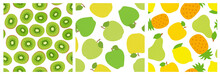 Kiwi Slice. Apple, Lemon, Pear And Pineapple. Fruit Seamless Pattern Set. Fashion Design. Food Print For Clothes, Linens Or Curtain. Hand Drawn Vector Sketch. Exotic Background Collection