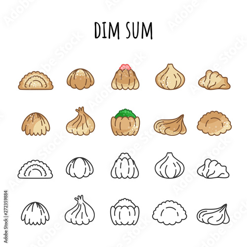Photo  Set of icons of Dim Sum. Color and outline. Hot food