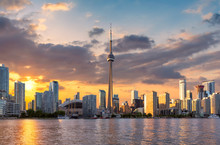 Toronto City Skyline At Sunset, Toronto, Ontario, Canada