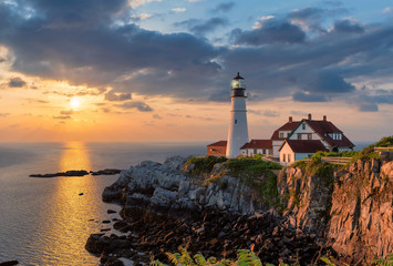 Portland Head Light at sunrise in Maine, New England, USA.