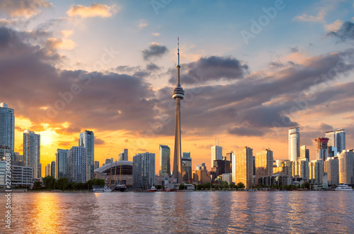 Toronto City skyline at sunset, Toronto, Ontario, Canada Wallpaper Mural