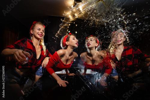 Pin up girls  having fun in nightclub Canvas Print