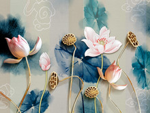 3d Illustration, Gray Background With Dark Green Leaves, Large Pink Water Lilies On Golden Stems