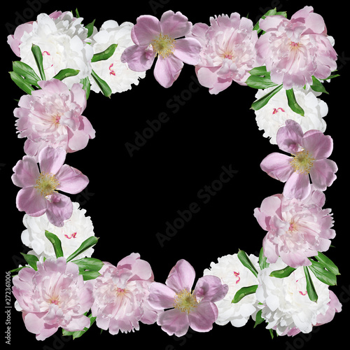 In de dag Candy roze Beautiful floral pattern of peonies and dogrose. Isolated