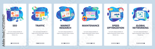 Mobile app onboarding screens. SEO and digital marketing, market research, speed optimization. Menu vector banner template for website and mobile development. Web site design flat illustration - 272361867
