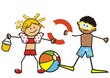 Two smiling kids, girl and boy on the swimming pool. Girl with a bucket, a ball and boy with a diver equipment and inflatable ring. Funny vector illustration.