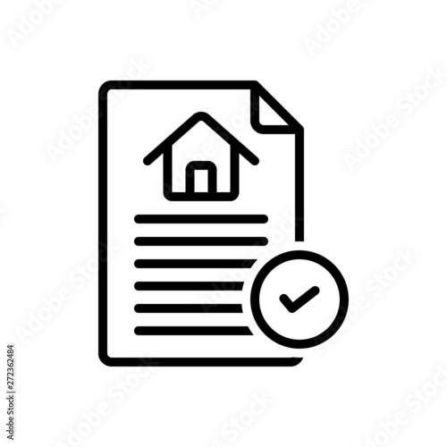 Photo Black line icon for contract agreement