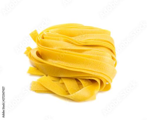 Raw yellow italian pasta pappardelle, fettuccine or tagliatelle Obraz na płótnie