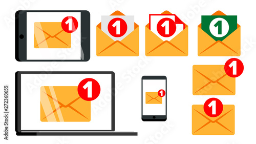 Fotomural  Concept Unread Email Message Notify Set Vector