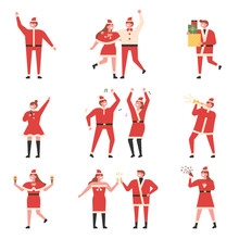 People In Santa Costumes And Christmas Parties. Flat Design Style Minimal Vector Illustration