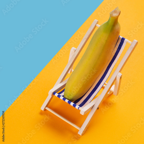 Cool Minimal Concept Of Rest And Summer A Banana Lies In A Beatyapartments Chair Design Images Beatyapartmentscom