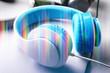 Modern headphones on white background, closeup