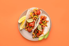 Plate With Tasty Tacos On Color Background