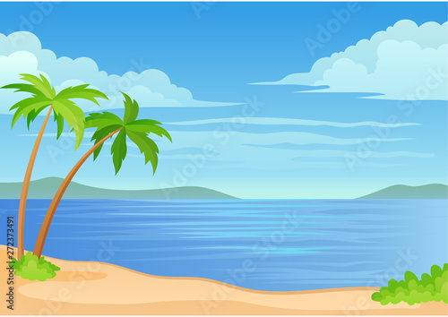 Wall Murals Green coral Two palm trees and a bush by the sea. Vector illustration on white background.
