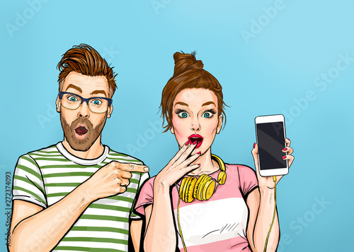 Attractive amazed young man pointing finger on mobile phone in hand wow girl in comic style. Pop art woman holding smartphone. Digital advertisement couple showing the message or new app on cellphone