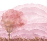 Akwarela jesień, letni las, sylwetka drzew, krzewów. Pole. Widok kraju. Pocztówka, logo, karta. Rysunek brązowe, różowe, beżowe drzewa na trawie na tle pojedyncze. Krajobraz kraju. - 272374432